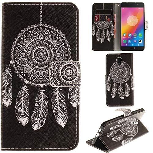 Ooboom® Lenovo P2 Hülle Flip PU Leder Schutzhülle Handy Tasche Hülle Cover Wallet Standfunktion mit Kartenfächer Magnetverschluss für Lenovo P2 - Traumfänger Schwarz