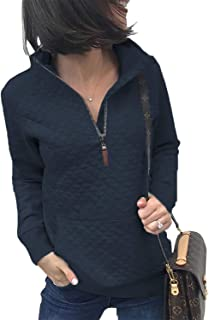 Women Fashion Quilted Pattern Lightweight Zipper Long Sleeve Plain Casual Ladies Sweatshirts Pullovers Shirts Tops