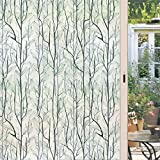dktie Window Privacy Film, Static Window Cling Decorative Window Decals Vinyl, Stained Glass Non Adhesive Window Sticker for Home Windows (Green, 17.7In.by 78.7In.)