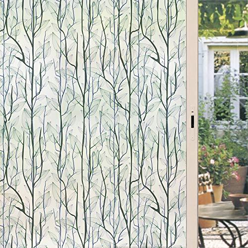 dktie Fensterfolie Privatsphäre, dekoratives Buntglas-Fensterbild für Zuhause, statische Haftung, Fensteraufkleber für Haustür, Badezimmer, Glastür, 89,9 x 199,9 cm, Grün