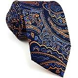 shlax&wing único Hombre Seda Corbatas Para Azul Naranja Cachemir Floral