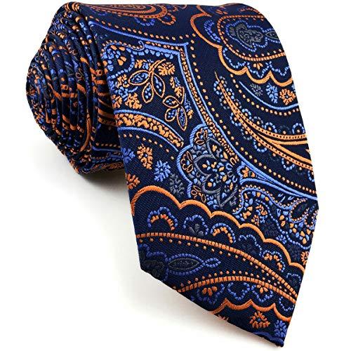 Shlax&Wing Einzigartig Herren Seide Krawatte Blau Orange Paisley Blumen