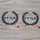 2X Black 4'' SPQR Ancient Rome Banner Decal Sticker Car Vinyl Roman no bkgrd