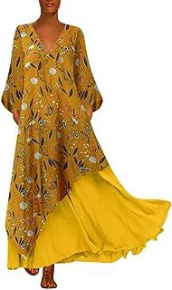 Chemise /à Manches Longues Plus Ourlet Fendu Ansenesna Robe Longue Femme Maxi Robe /à Imprim/é Floral