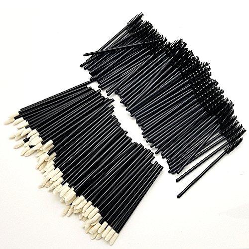 Wimperverlengingspakket van 100 verwijderbare wimperborstels, mascara-borstels voor wimpers, wimperverlengingssteun en 100 pluisvrije microvezellippenborstel voor wimperverlengingen