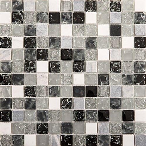 Piastrelle con mosaico a effetto vetro, misure: 30 cm x 30 cm, di colore bianco, grigio, nero, codice articolo MT0152