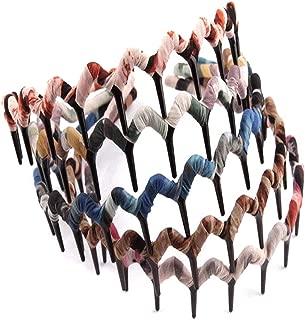 5PCS Zig Zag Wrapped Cloth Headband Plastic Sharks Tooth Hair Comb Hair Hoop Headwear Accessory for Lady Women