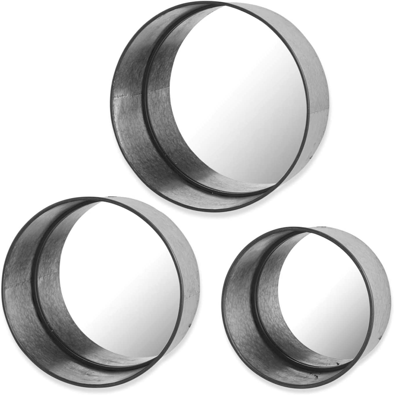 High order KK Interiors 13805A Set of Round National products Metal Mirrors 3