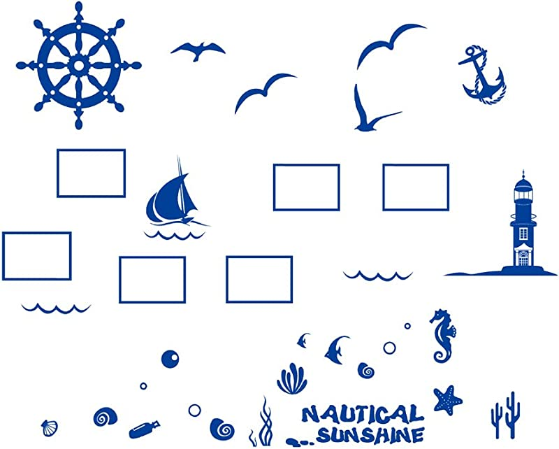 Cartoon Ocean Ship Wall Frame Stickers Seagull Sea Sail Tower The Underwater World Marine Life Bedroom Livingroom Peel Stick Removable Wall Frame Family Decal Kids Children Adult Pirate Ship