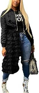 Womens Jackets Ruffled Sheer Mesh Long Sleeve Zip Up Shirt Dress Tops Anorak Trench Coat