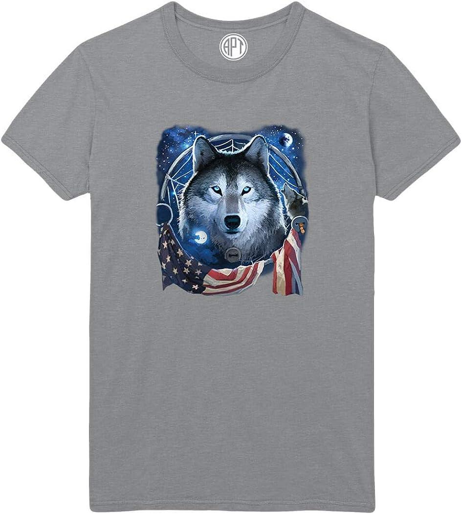 Wolf Flag Dreamcatcher Printed T-Shirt