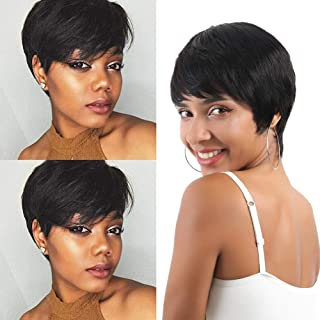 Short Human Hair Wigs Pixie Cute Wig with Bangs Straight Hair Wigs for Women Ntural Color