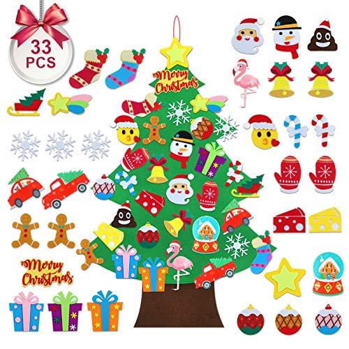 TOBEHIGHER Felt Christmas Tree - 3.5 FT DIY Felt Christmas Tree for Kids, 33 Pcs Detachable Ornaments, Door Wall Hanging Xmas Gifts for Christmas Decorations