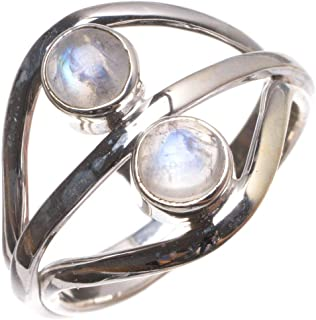 Natural Moonstone Handmade Vintage 925 Sterling Silver Ring, US Size 7.75 T8215