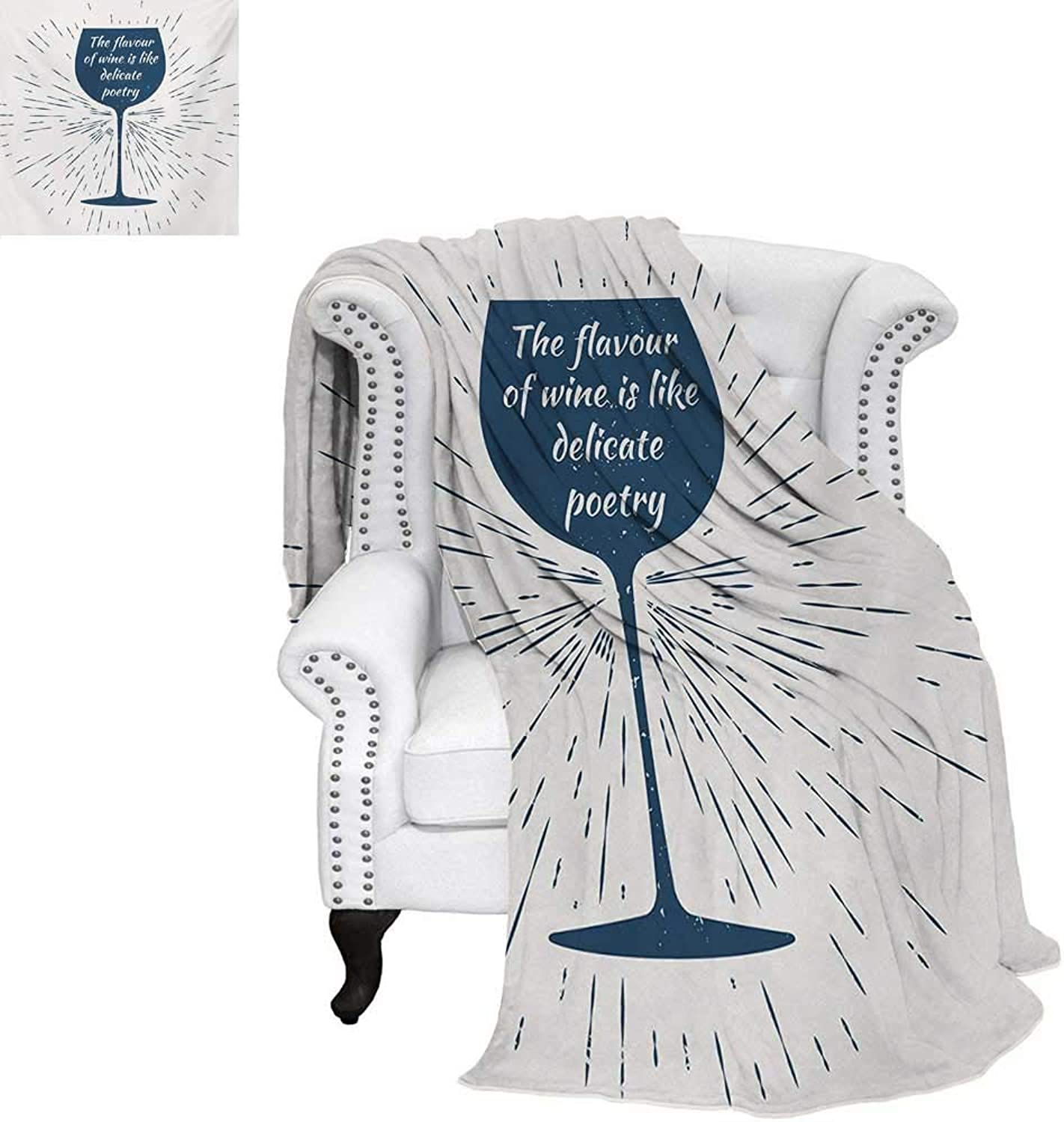 Warmfamily Wine Summer Quilt Comforter Wine Glass Vintage Sun Burst Frame The Flavor is Like Delicate Poetry Quote Digital Printing Blanket 60 x50  Night bluee White