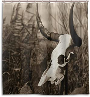 KIMDFACE Cortina De Ducha Impermeable,Lámina artística Foto Occidental de un cráneo de Toro en el tótem de arbustos de Palo Mito del Nativo Americano,Cortinas de Baño 122x183cm