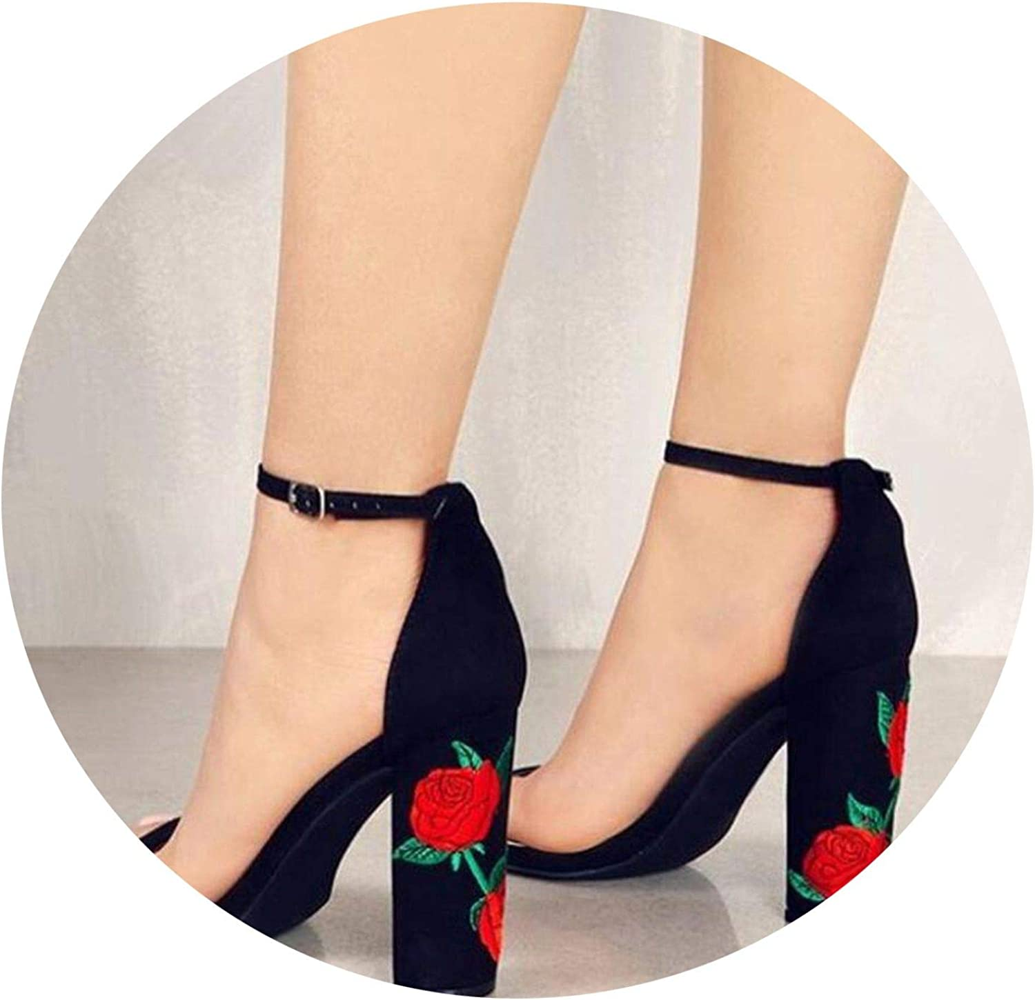Suede shoes Women Sandal Embroidered High Heel Women Sandals Ethnic Flower Floral Party shoes Plus Size