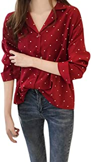 Cinhent Blouse, Fashion Womens Dots Printed Long Sleeve Fit Slim Tops Shirt