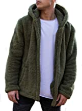 Men Hooded Jacket Fuzzy Sherpa Fleece Open Front Cardigan Winter Coat with Pockets