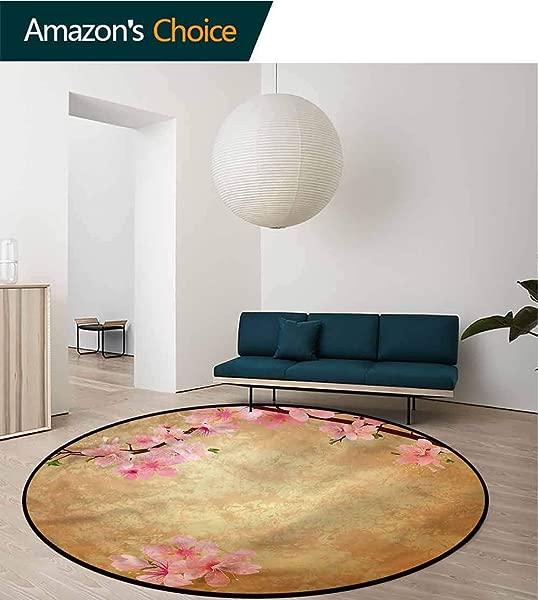 RUGSMAT Floral Computer Chair Floor Mat Sakura Cherry Blossom Tree Perfect For Any Room Floor Carpet Diameter 47