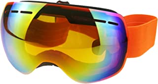 Pc Snowboard Goggles Magnet Dual Layers Lens Spherical Design Anti Fog Uv Protection Anti Slip Strap