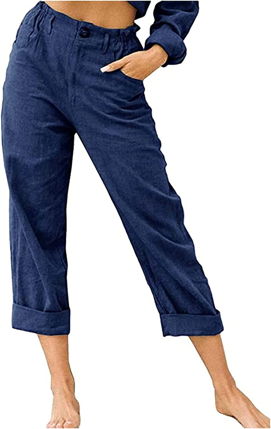 SUNNART Women's Capris Pants Summer Casual Cropped Pants Loose Casual Pants Trousers with Pockets