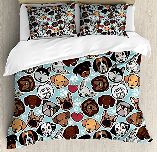 Ambesonne Dog Lover Duvet Cover Set, Canine Breeds Bulldog Chihuahua Siberians and Retriever Love Heart Paw Prints, Decorative 3 Piece Bedding Set with 2 Pillow Shams, Queen Size, Pale Blue