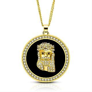Hiphop Necklace, مايكرو المعبدة AAA زركونيا مكعب من قطعة يسوع جولة المعلقات قلادة للرجال مغني الراب مجوهرات لون الذهب