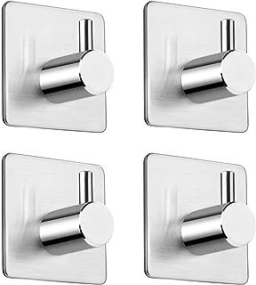 Wwin フック 強力 粘着フック ウォールフック ステンレス 壁 傷つけない フック 防水 コート タオル 鍵 キッチン 浴室に 4枚セット (スタイル 1)