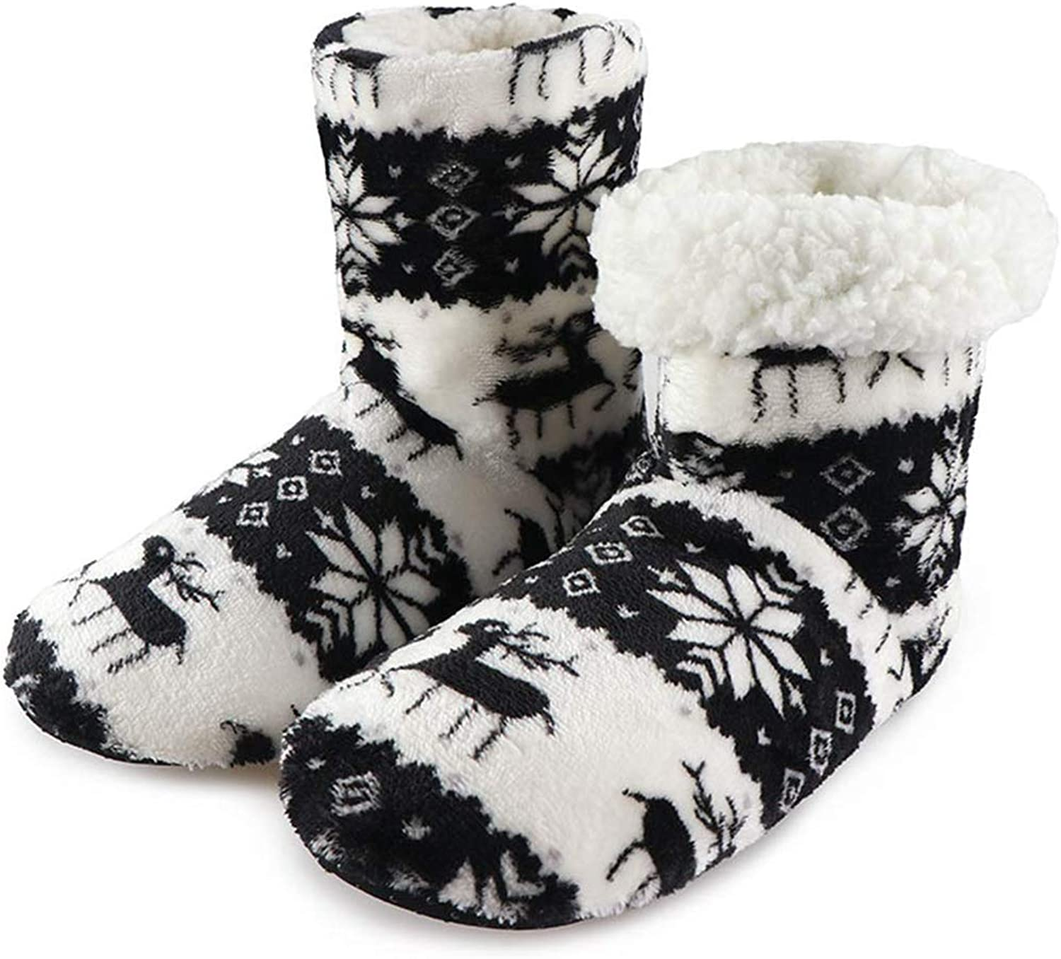 York Zhu Indoor Home Slippers Winer Super Soft Warm Cozy Fuzzy Lined Booties Slippers