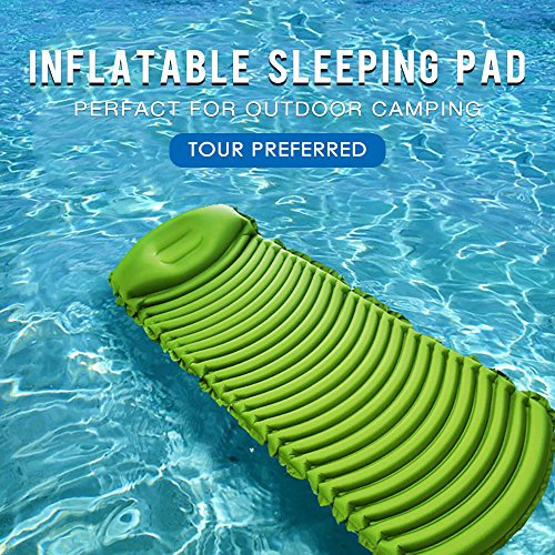 Ultralight Inflatable Sleeping Pad for Adults Camping Backpacking with Repair Kit and Waterproof Stuff Sack (Green)
