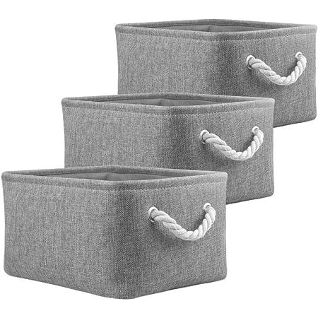 Mangata Boîtes de Rangement Pliables, paniers de Rangement en Tissu pour Livres/DVD/Jouets/école/Maison/Placard/Bureau, Pack de 3 (Gris, Small)