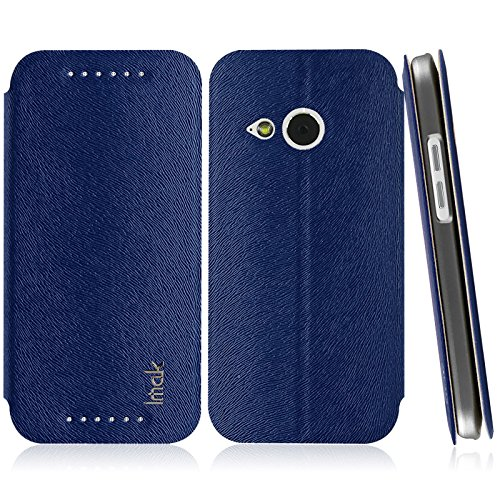 Heartly Imak Squirrel Pattern Luxury PU Leather Flip Stand Hard Back Case Cover for HTC One M8 Mini - Blue