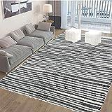 "Chindi Rug Reversible Rag Cotton Hand Woven Throw Area Rugs for Kitchen Bedroom Bathroom Livingroom Washable Stripe Grey 48"" x 96"" -  SERENITA"