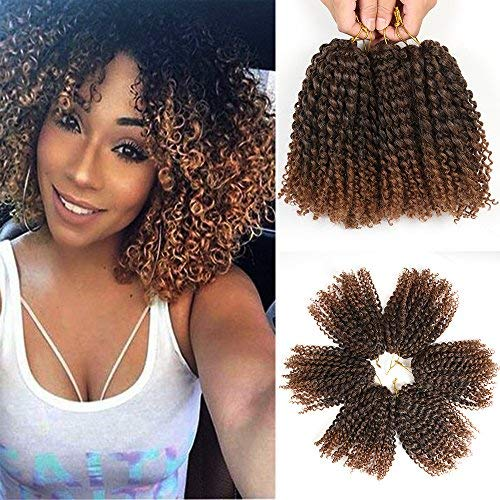 8 Inch Short Passion Twist Crochet Hair 6 Bundles Marlybob Crochet Hair Kinky Curly Crochet Hair for Black Women Crochet Braids Water Wave Crochet Hair(6Bundles8 Inch, 1B/30)