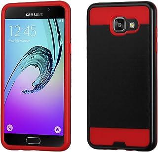 Funda Case para Samsung Galaxy A5 2016 Doble Protector de Plástico con Aspecto Metálico Uso Rudo (con Rojo)
