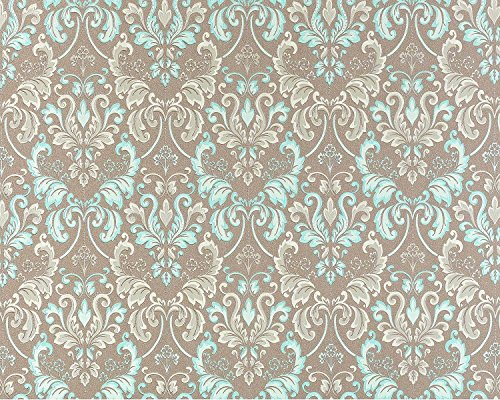 Vliestapete Barock-Tapete XXL EDEM 966-25 Muster Ornament klassisch taupe türkis beige | 10,65 qm