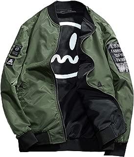Men's Smiley Emoji Faces Baseball Reversible Bomber Jacket Letter Printed Zipper up Windbreaker Jacket Coat Outerwear