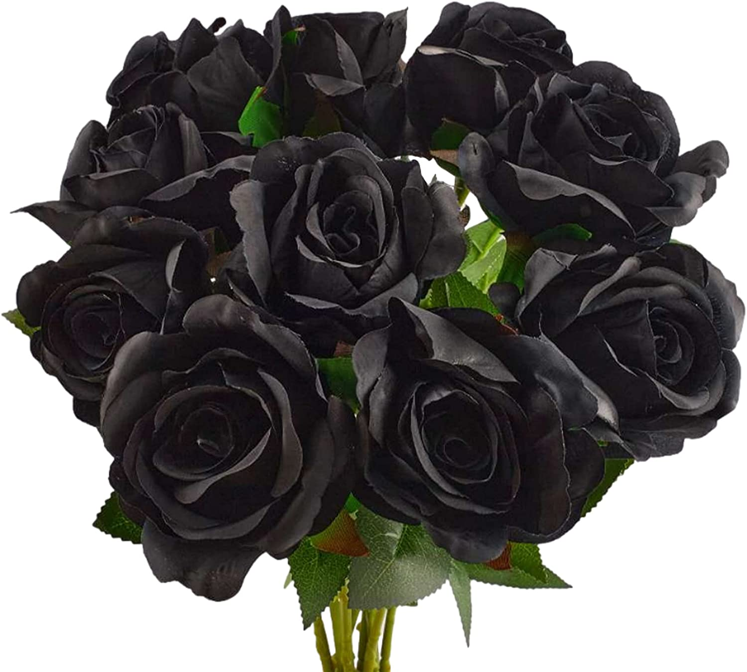 InDrah 10Pcs Black Roses Artificial Flowers Bouquet Lifelike Fake Rose for Wedding Home Party Decoration(Black)