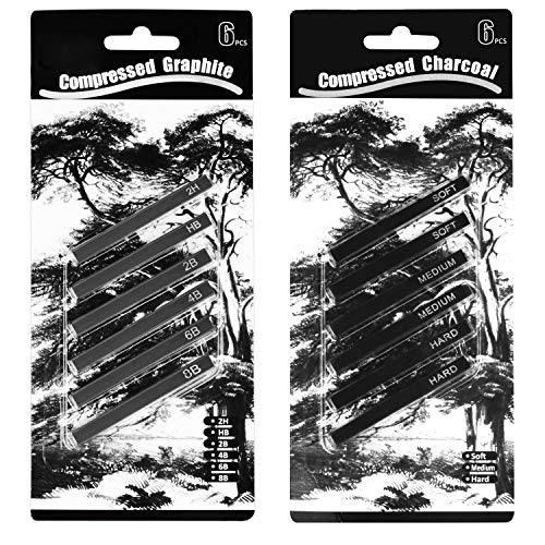 MyLifeUNIT Compressed Charcoal Sticks, Square Compressed Graphite Drawing Pencils for Artists, Pack of 12