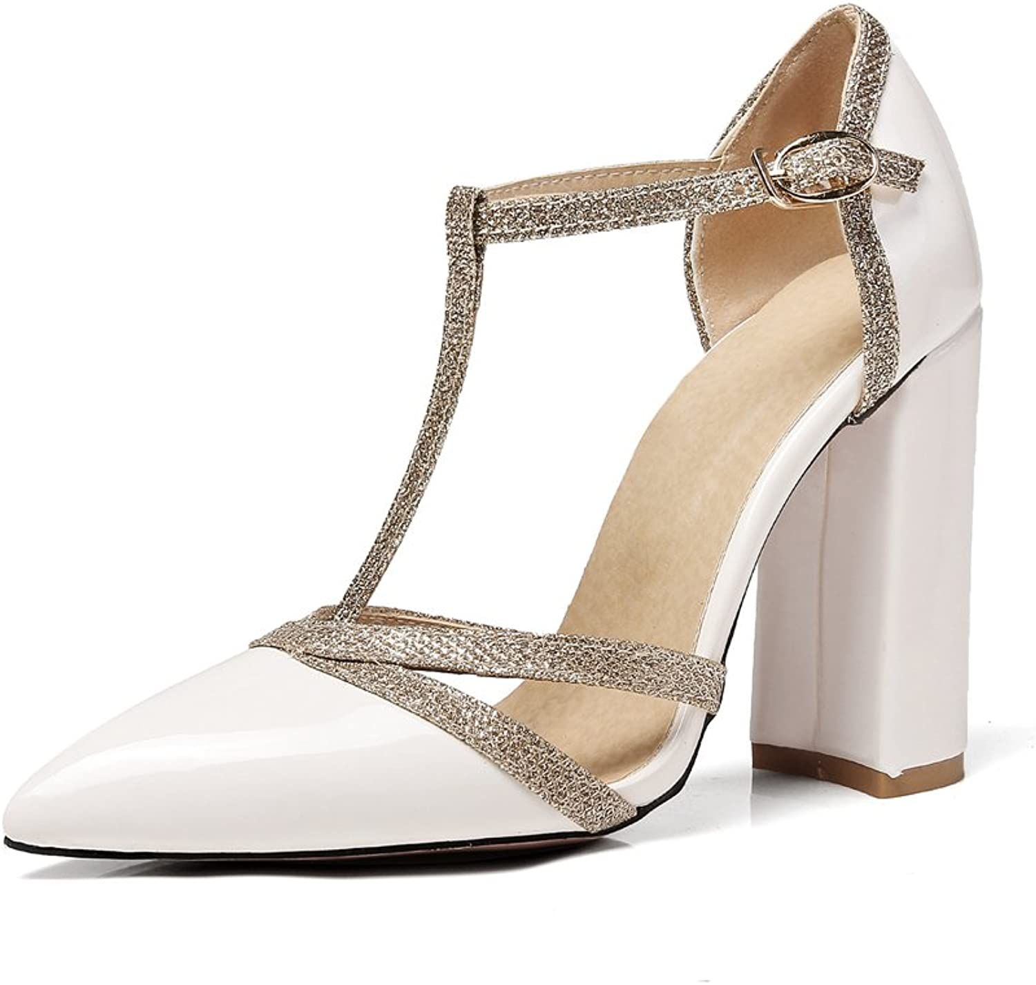 Women Pointed Heeled Sandals Trendy Closed Toe Block Heel Pumps Ankle Buckle Party Dress shoes