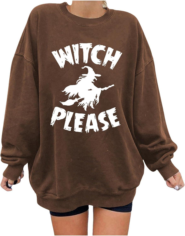 Halloween Sweatshirts for Women - Halloween Long Sleeve Pullover Winter Sweater Shirts Pumpkin Skull Print Tops Blouses