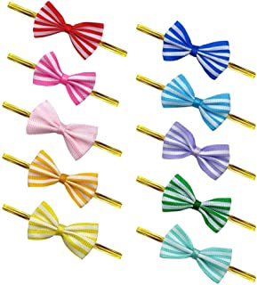 OWLFAVO 100 Pcs Assorted Cute Bow Twist Ties 10 Colors Favor Decorations for Sealing Gifts Bakery Cake Cookie Candy Lollipop Bag Packgae