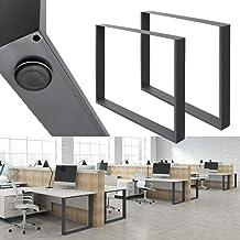 ECD Germany 2 stuks tafelpoten - 80 x 72 cm - gepoedercoat staal - donkergrijs - industriële vormgeving - tafelframe tafel...
