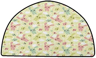 Floor mats for Kids Anime,Funny Bunnies Clouds and Bones Pattern Doodle Kawaii Illustration, Pale Green Pale Pink Seafoam,W35 x L24 Half Round Printed Carpet
