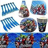 Vaisselle de fête,JPYH 67 PCS Kit de décorations d'anniversaire de Super-héro,Marvel Avengers Assemblez Vaisselle Assiettes Assiettes Tasses Serviettes