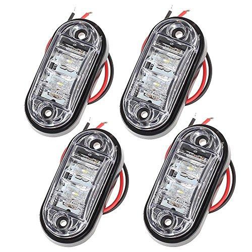 PROZOR 4PCS LED Vorderseite Markierungsleuchten 12V 24V LKW Anhänger Anzeigelampe für Auto LKW Anhänger Indikator- Weiß