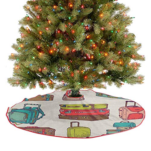 Christmas Tree Skirt Decorations Colorful Suitcases Holiday Inspired Design Travelling Abroad Vintage Style Artwork Traditional Christmas Tree Mat Give Your Christmas Tree An Extra Touch 30 Inch