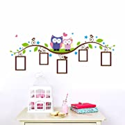 LiveGallery Cute Cartoon Birds Owls Family on the Tree Branches Photo Frame Tree Wall Decal Wall Sticker Murals -Easy Peel & Stick- for Kids Baby Child Bedroom Living Room Nursery Classroom Background