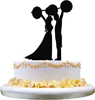 restore2a Unique Wedding Cake Topper- Bride and Groom Lifting The Barbell Silhouette